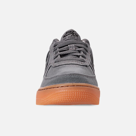 Front view of Boys' Big Kids' Nike Air Force 1 '07 LV8 Style Casual Shoes in Black/Black/Gum Medium Brown