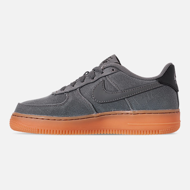 Left view of Boys' Big Kids' Nike Air Force 1 '07 LV8 Style Casual Shoes in Black/Black/Gum Medium Brown