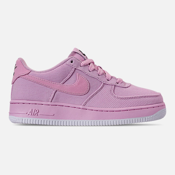 Right view of Girls' Big Kids' Nike Air Force 1 '07 LV8 Style Casual Shoes in Light Arctic Pink/Light Arctic Pink/Black