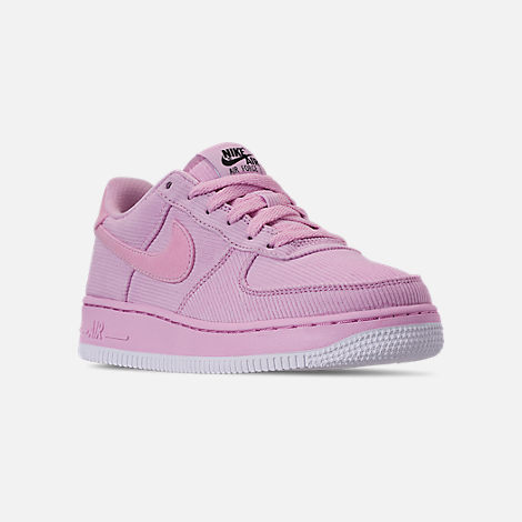Three Quarter view of Girls' Big Kids' Nike Air Force 1 '07 LV8 Style Casual Shoes in Light Arctic Pink/Light Arctic Pink/Black