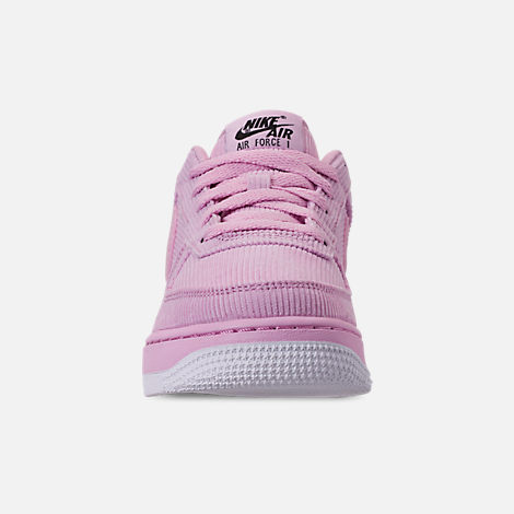 Front view of Girls' Big Kids' Nike Air Force 1 '07 LV8 Style Casual Shoes in Light Arctic Pink/Light Arctic Pink/Black