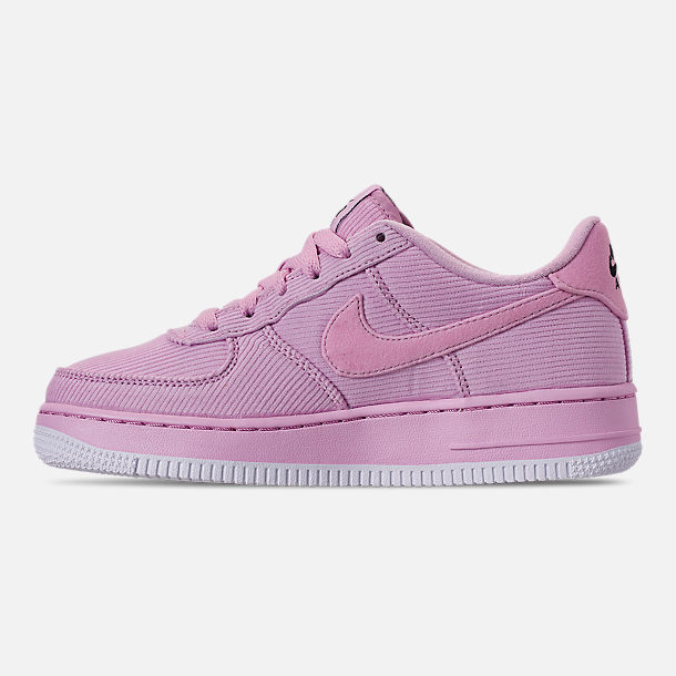 Left view of Girls' Big Kids' Nike Air Force 1 '07 LV8 Style Casual Shoes in Light Arctic Pink/Light Arctic Pink/Black