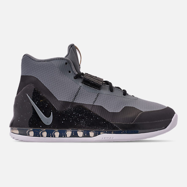 Right view of Men's Nike Air Force Max Basketball Shoes in Cool Grey/Cool Grey/Black/White