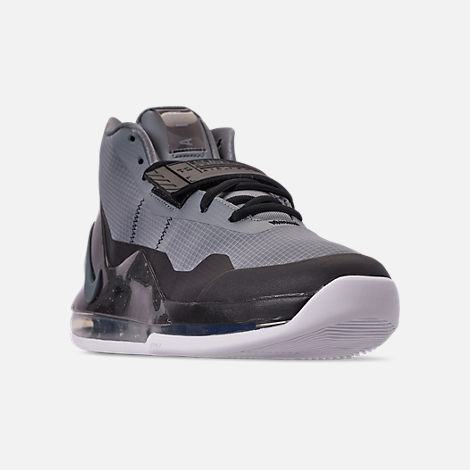 Three Quarter view of Men's Nike Air Force Max Basketball Shoes in Cool Grey/Cool Grey/Black/White