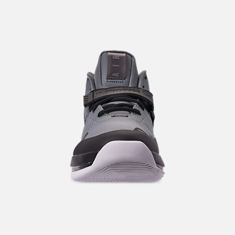 Front view of Men's Nike Air Force Max Basketball Shoes in Cool Grey/Cool Grey/Black/White