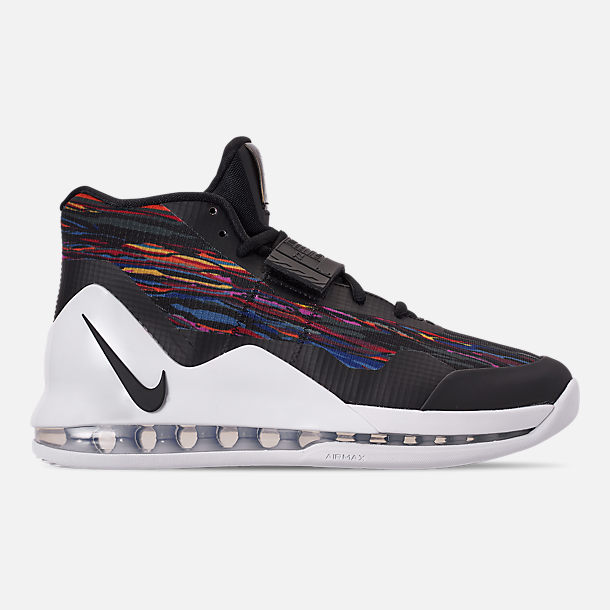 Right view of Men's Nike Air Force Max Basketball Shoes in White/Black/Multi-Color
