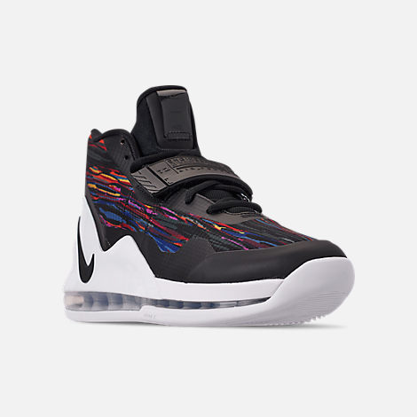 Three Quarter view of Men's Nike Air Force Max Basketball Shoes in White/Black/Multi-Color