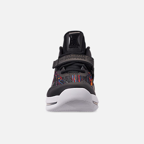 Front view of Men's Nike Air Force Max Basketball Shoes in White/Black/Multi-Color