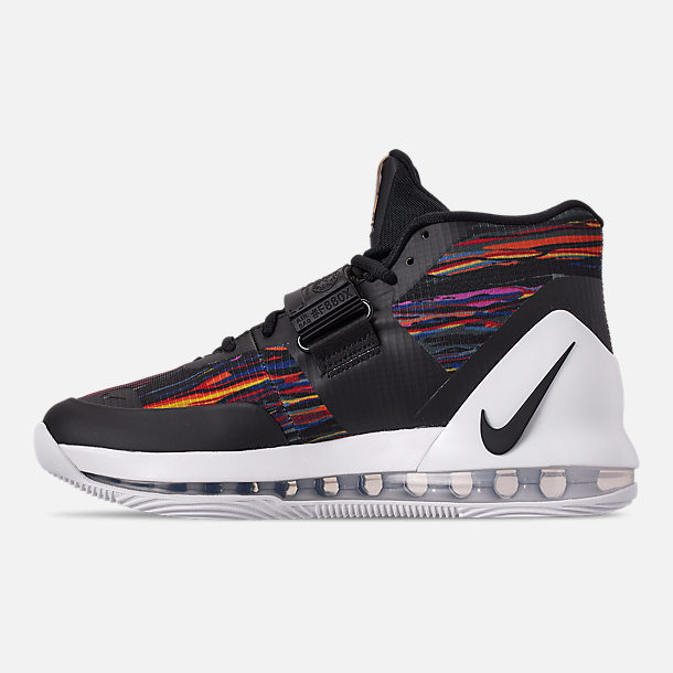 Left view of Men's Nike Air Force Max Basketball Shoes in White/Black/Multi-Color