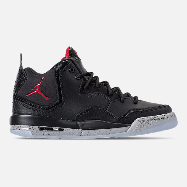 Right view of Boys' Grade School Air Jordan Courtside 23 Basketball Shoes in Black/Gym Red/Particle Grey