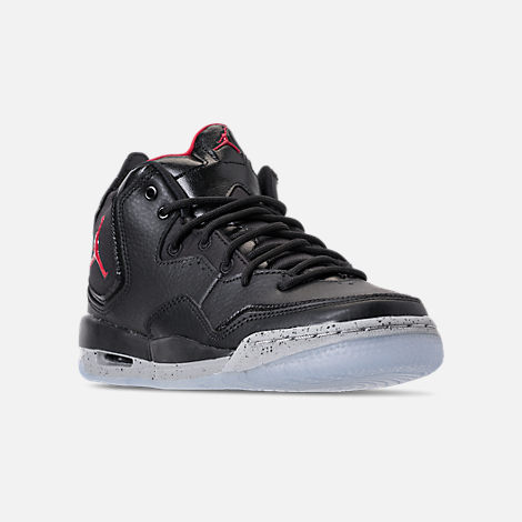 Three Quarter view of Boys' Grade School Air Jordan Courtside 23 Basketball Shoes in Black/Gym Red/Particle Grey
