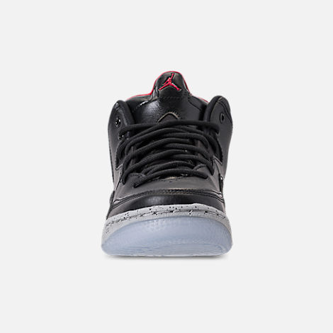 Front view of Boys' Big Kids' Air Jordan Courtside 23 Basketball Shoes in Black/Gym Red/Particle Grey
