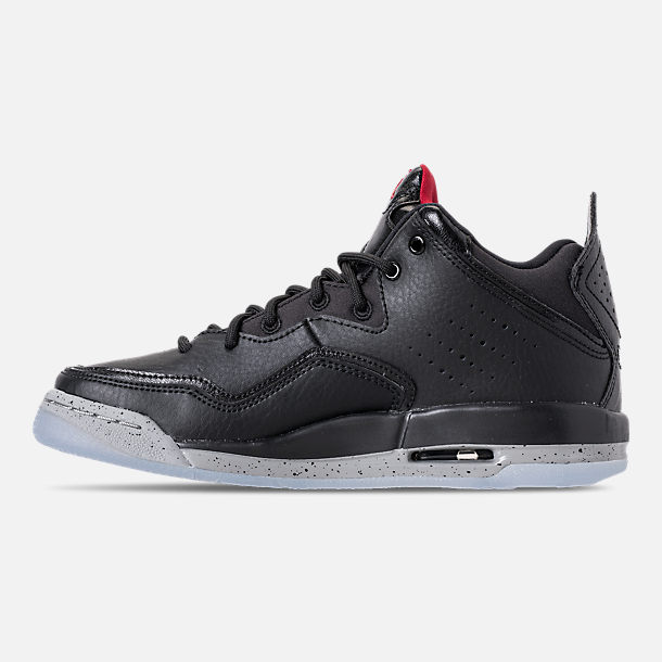 Left view of Boys' Big Kids' Air Jordan Courtside 23 Basketball Shoes in Black/Gym Red/Particle Grey