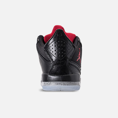 Back view of Boys' Grade School Air Jordan Courtside 23 Basketball Shoes in Black/Gym Red/Particle Grey