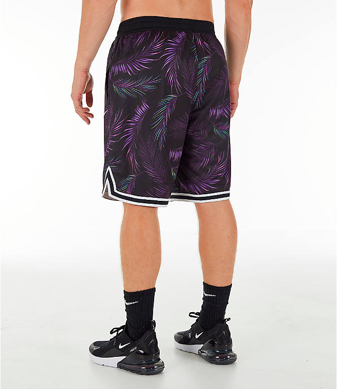 6d22285f Back Left view of Men's Nike Dri-FIT DNA Floral Basketball Shorts in Court  Purple