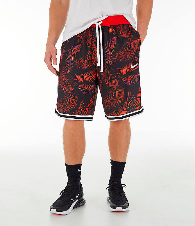Front view of Men's Nike Dri-FIT DNA Floral Basketball Shorts in University Red/White
