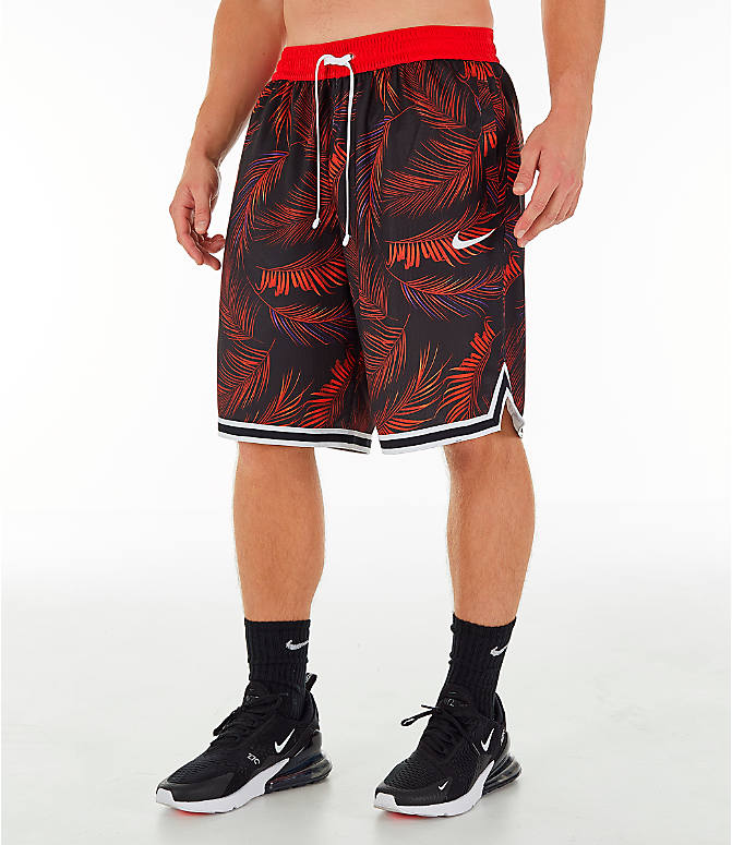 Front Three Quarter view of Men's Nike Dri-FIT DNA Floral Basketball Shorts in University Red/White