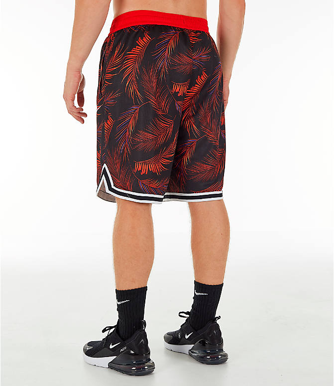 Back Left view of Men's Nike Dri-FIT DNA Floral Basketball Shorts in University Red/White