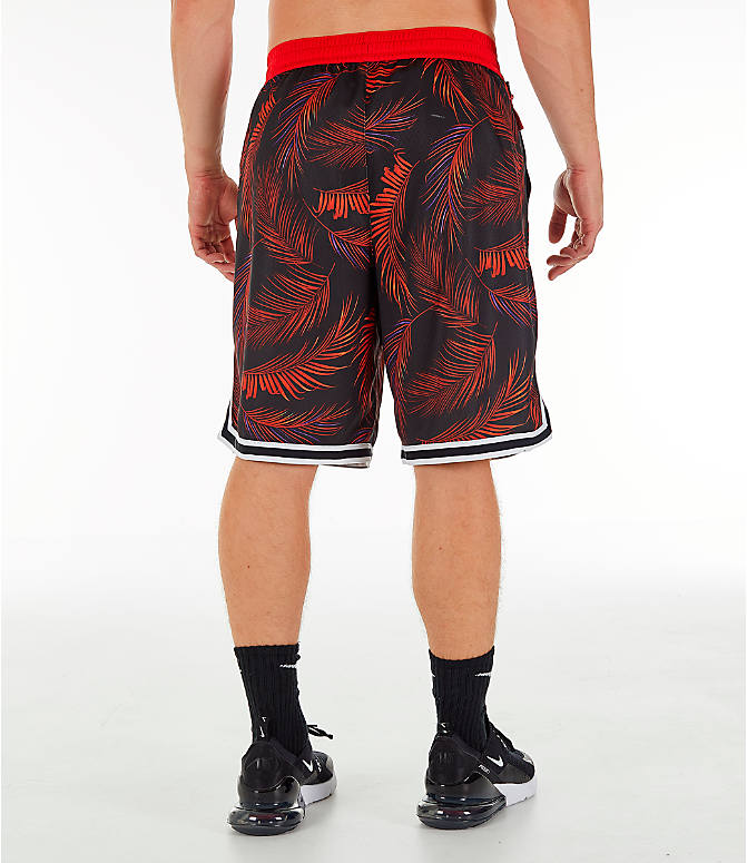 Back Right view of Men's Nike Dri-FIT DNA Floral Basketball Shorts in University Red/White