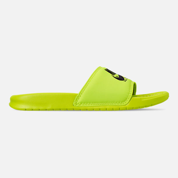 Right view of Men's Nike Benassi JDI TXT SE Slide Sandals in Volt/Black