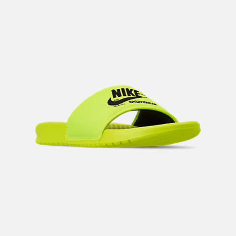 Three Quarter view of Men's Nike Benassi JDI TXT SE Slide Sandals in Volt/Black