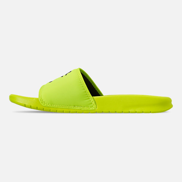 Left view of Men's Nike Benassi JDI TXT SE Slide Sandals in Volt/Black