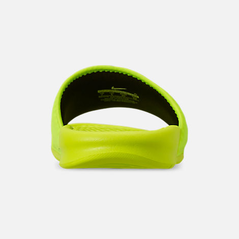 Back view of Men's Nike Benassi JDI TXT SE Slide Sandals in Volt/Black