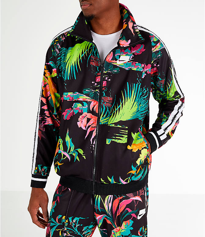 Front view of Men's Nike Sportswear Floral Track Jacket in Cyber/Black