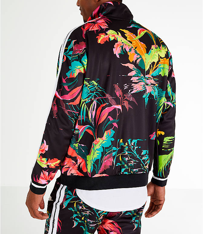 Back Left view of Men's Nike Sportswear Floral Track Jacket in Cyber/Black