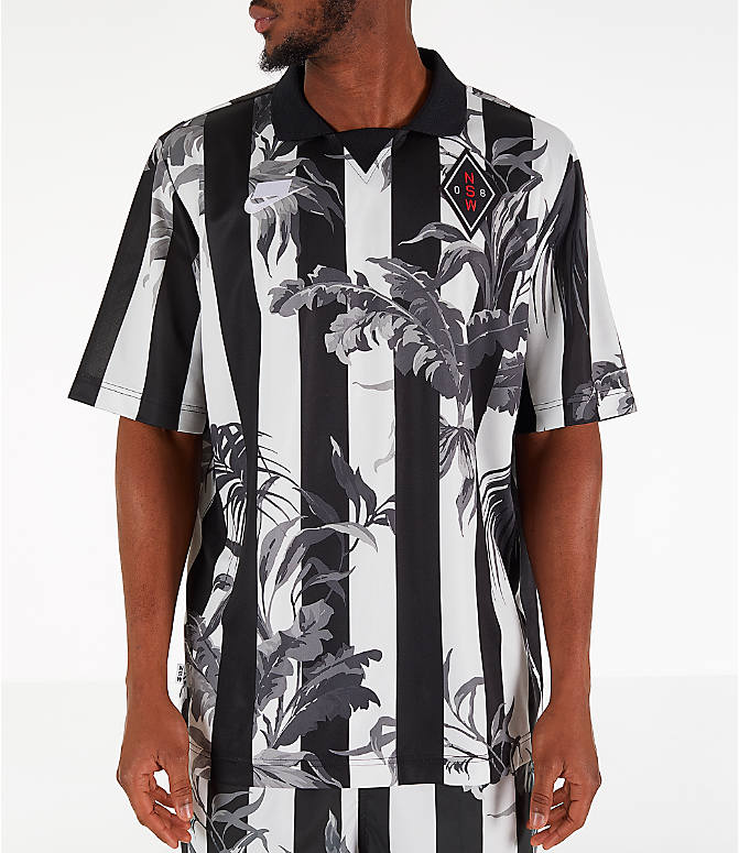 Front view of Men's Nike Sportswear Floral Soccer T-Shirt in Black/White