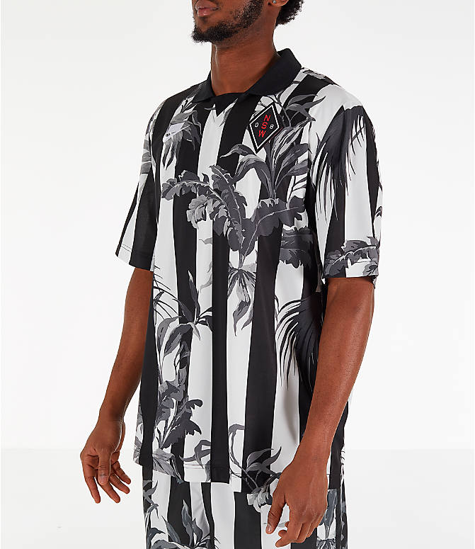 Front Three Quarter view of Men's Nike Sportswear Floral Soccer T-Shirt in Black/White