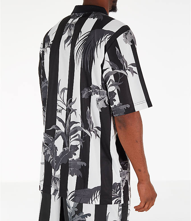 Back Right view of Men's Nike Sportswear Floral Soccer T-Shirt in Black/White