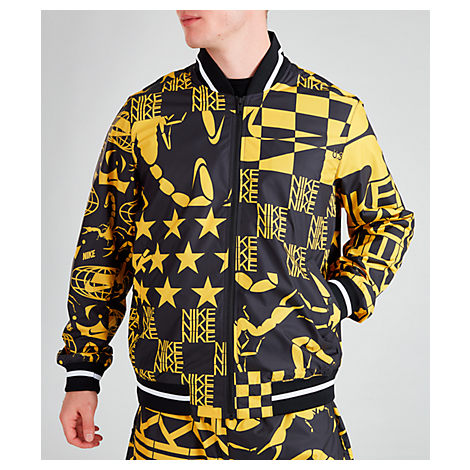Nike Men's Sportswear Allover Print Jacket In Yellow / Black Size 2X-Large 100% Polyester