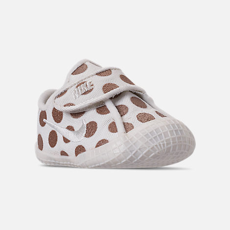 Three Quarter view of Girls' Infant Nike Waffle 1 Print Hook-and-Loop Crib Booties in Sail/Sail/Metallic Red Bronze