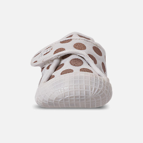 Front view of Girls' Infant Nike Waffle 1 Print Hook-and-Loop Crib Booties in Sail/Sail/Metallic Red Bronze