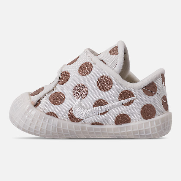 Left view of Girls' Infant Nike Waffle 1 Print Hook-and-Loop Crib Booties in Sail/Sail/Metallic Red Bronze