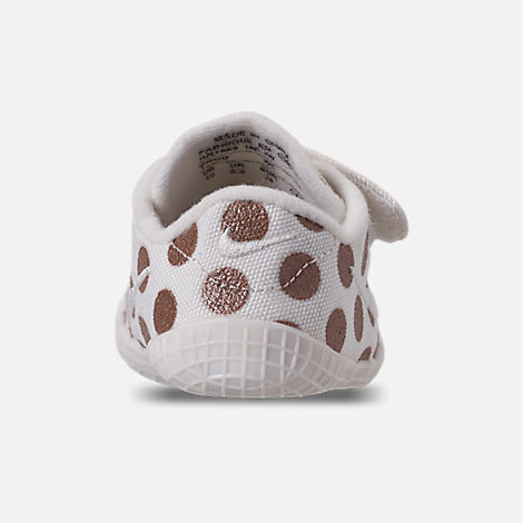 Back view of Girls' Infant Nike Waffle 1 Print Hook-and-Loop Crib Booties in Sail/Sail/Metallic Red Bronze