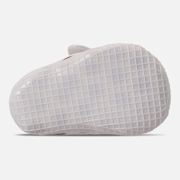 Bottom view of Girls' Infant Nike Waffle 1 Print Hook-and-Loop Crib Booties in Sail/Sail/Metallic Red Bronze
