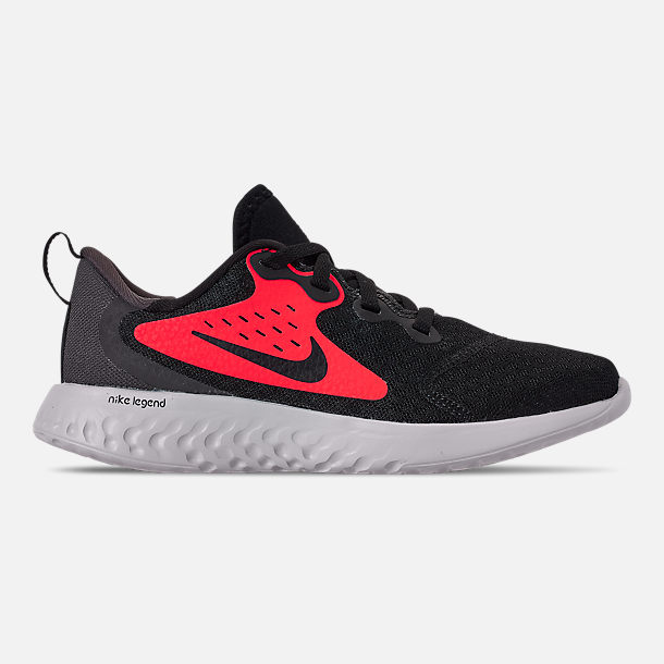 Right view of Boys' Little Kids' Nike Legend React Running Shoes in Black/Black/Flash Crimson/Thunder Grey