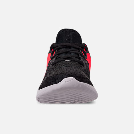 Front view of Boys' Little Kids' Nike Legend React Running Shoes in Black/Black/Flash Crimson/Thunder Grey