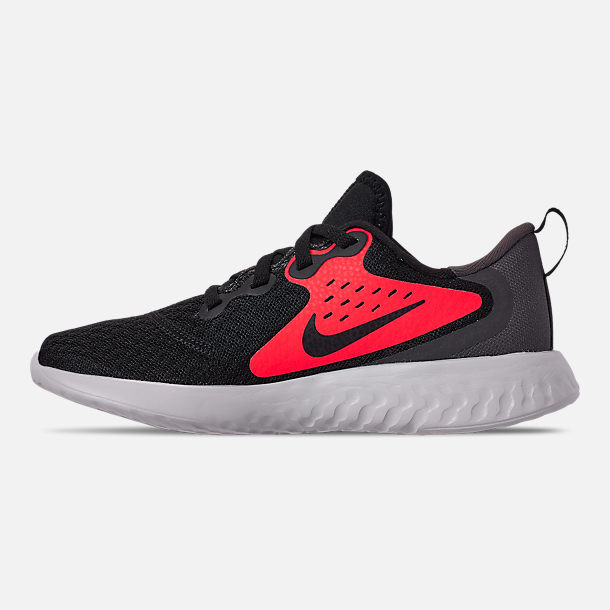 Left view of Boys' Little Kids' Nike Legend React Running Shoes in Black/Black/Flash Crimson/Thunder Grey