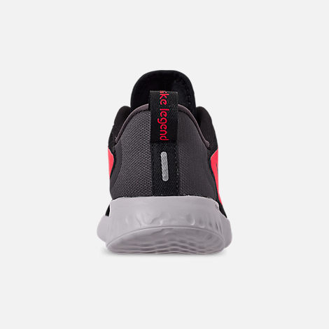 Back view of Boys' Little Kids' Nike Legend React Running Shoes in Black/Black/Flash Crimson/Thunder Grey