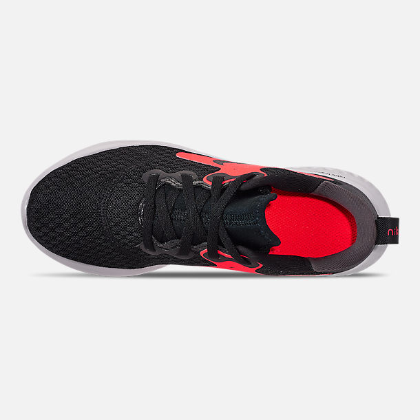 Top view of Boys' Little Kids' Nike Legend React Running Shoes in Black/Black/Flash Crimson/Thunder Grey