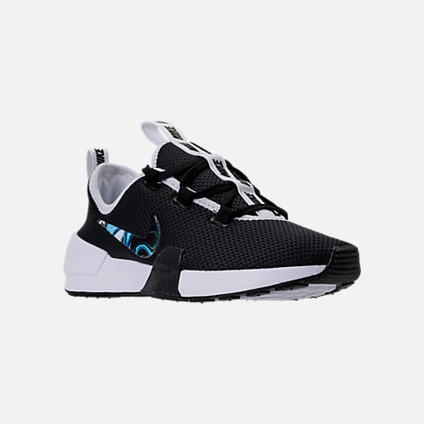 Three Quarter view of Women's Nike Ashin Modern Casual Shoes in Black/Black/White