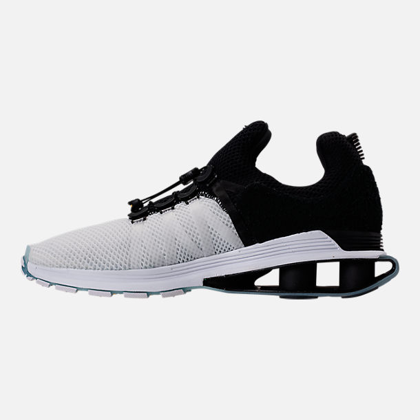 Left view of Men's Nike Shox Gravity Casual Shoes in White/Black/White