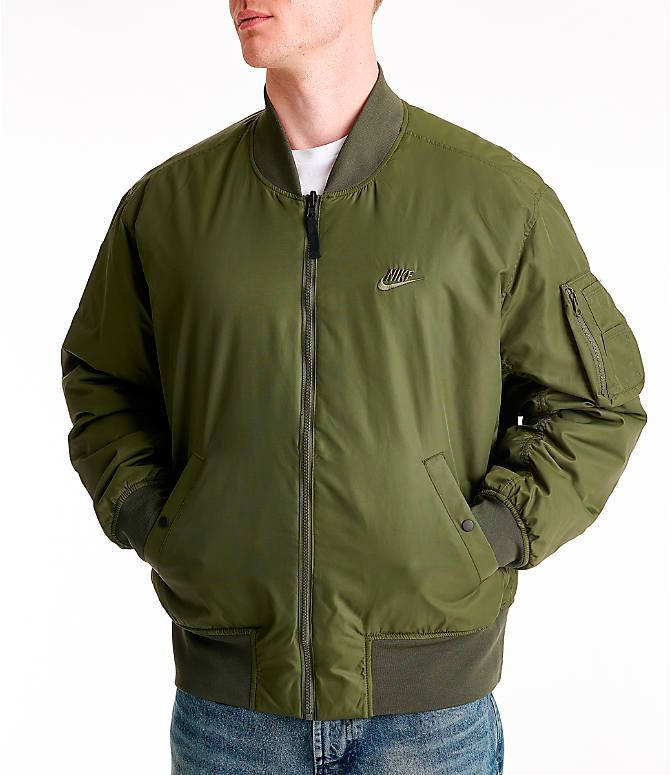 88f3a131c Front view of Men's Nike Sportswear Reversible Bomber Jacket in Cargo  Khaki/White