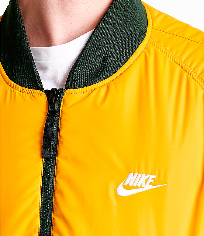 Detail 2 view of Men's Nike Sportswear Reversible Bomber Jacket in Outdoor Green/Gold Dart/White