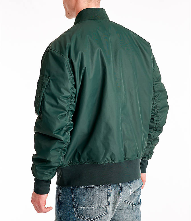 Back Left view of Men's Nike Sportswear Reversible Bomber Jacket in Outdoor Green/Gold Dart/White