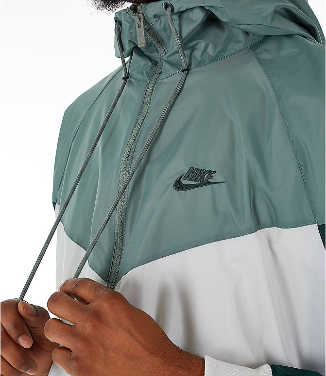 Detail 1 view of Men's Nike Sportswear Colorblock Windrunner Hooded Jacket in Light Bone/Vintage Lichen/Outdoor Green