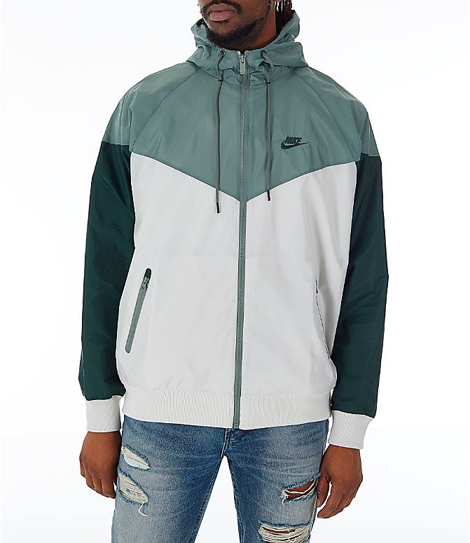 Front view of Men's Nike Sportswear Colorblock Windrunner Hooded Jacket in Light Bone/Vintage Lichen/Outdoor Green